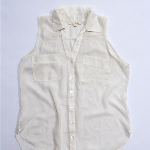 Lush Ivory White Sleeveless Button Down Blouse XS